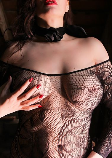 high class escort lady in Berlin -wearing net catsuit.